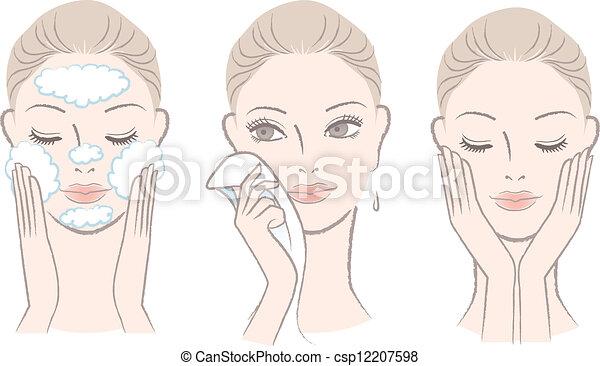 Mujer en proceso para lavar cara - csp12207598