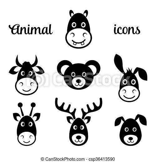 Vector negro animal cara iconos - csp36413590