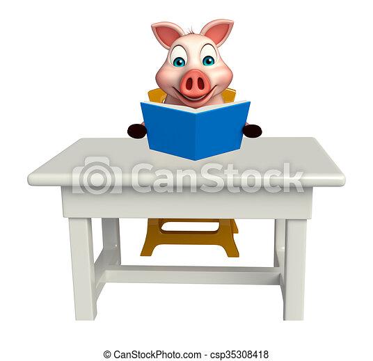 Caract re cochon livres amusement chaise dessin anim for Table 3d dessin