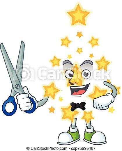 caractère, dessin animé, étoile, mascotte, noël, style, heureux, coiffeur - csp75995487