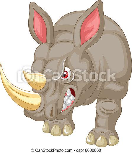 caractère, dessin animé, fâché, rhinocéros - csp16600860
