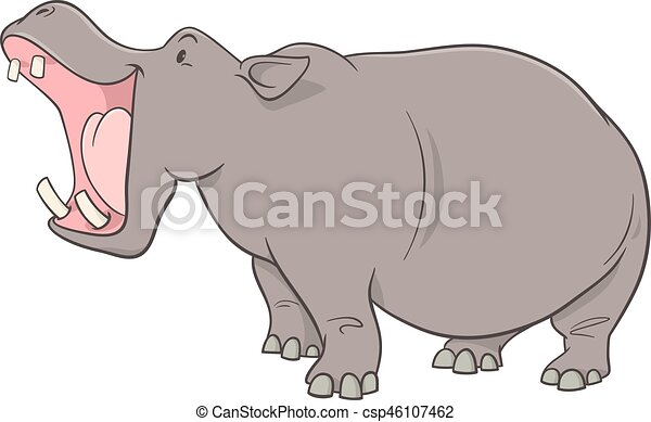 Caractere Dessin Anime Hippopotame Caractere Illustration Animal Sauvage Dessin Anime Hippopotame Canstock