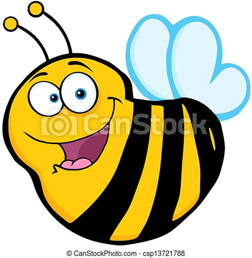 caractère, dessin animé, mascotte, abeille - csp13721788