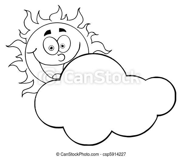 caractère, dessin animé, soleil, mascotte - csp5914227