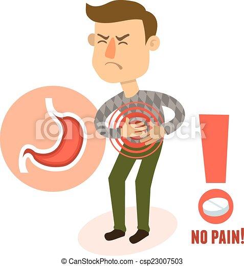 caractère, estomac, malade, douleur - csp23007503