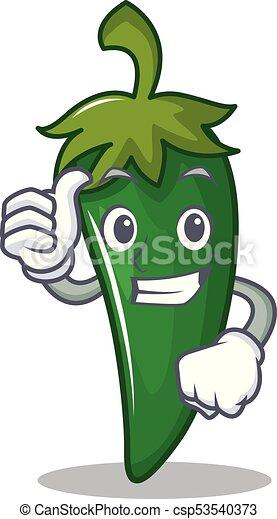 caractère, haut, vert, pouces, piment, dessin animé - csp53540373