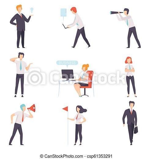 caractères, bureau, business, ensemble, femme affaires, travail, illustration, réussi, vecteur, hommes affaires, fond, blanc - csp61353291