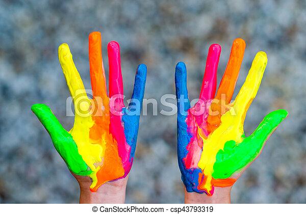 caractères, coloré, peint, peintures, main, mains, prêt - csp43793319