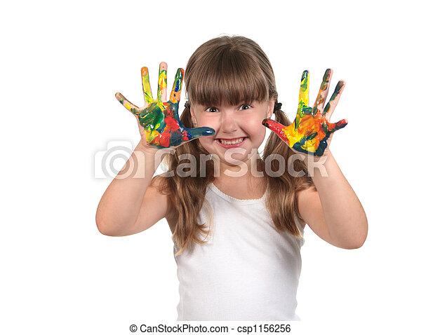 caractères, peint, faire, main, mains, prêt - csp1156256