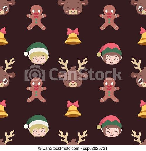 Fondos de diseño sin cortes con personajes navideños - csp62825731