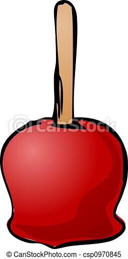 Caramel Apple Illustration Of Caramel Apple On A Stick Isometric 3d Illustration Hand Drawn Lineart Sketch Canstock