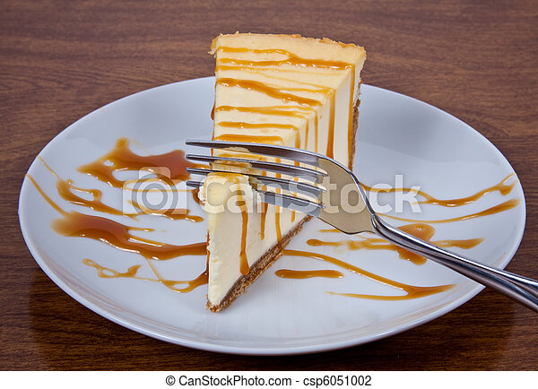 Caramel Drizzled Cheesecake on a Plate - csp6051002