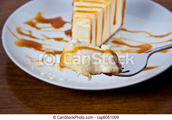 Caramel Drizzled Cheesecake on a Plate - csp6051009