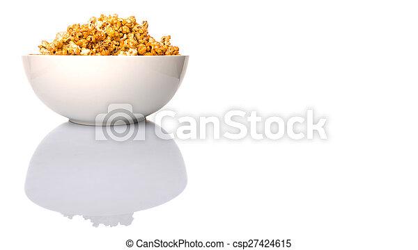 Caramel Popcorn In White Bowl - csp27424615