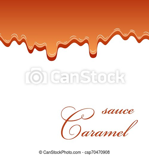 Caramel Sauce Seamless Pattern 3d Caramel Drop Liquid Isolated White Background Splash Flow Syrup Border Sweet Cream Canstock