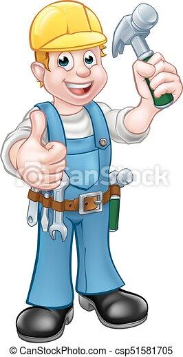 carattere, cartone animato, martello, carpentiere, uomo tuttofare - csp51581705