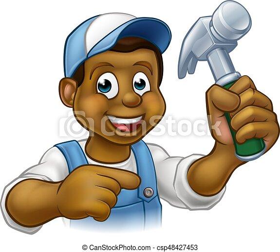 carattere, cartone animato, uomo tuttofare, carpentiere, nero - csp48427453