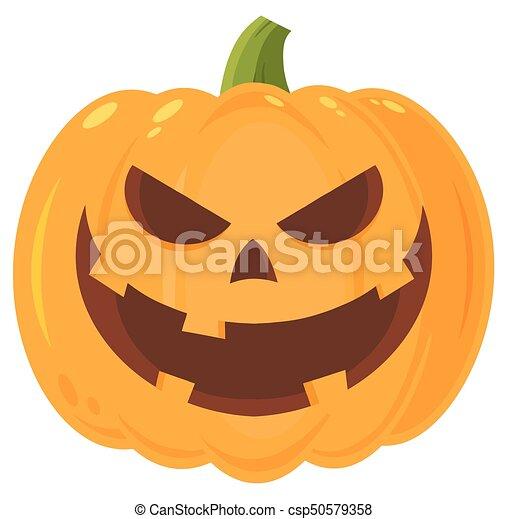 Zucche Di Halloween Cartoni Animati.Carattere Halloween Male Faccia Ghignando Emoji Espressione Cartone Animato Zucca