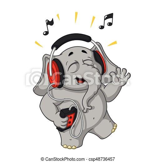 Caratteri headphones elefanti grande isolato collezione
