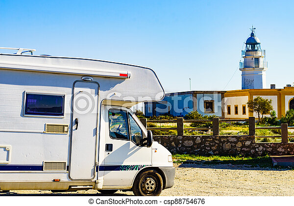 Caravan at Mesa Roldan lighthouse, Spain - csp88754676