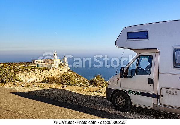 Caravan at Mesa Roldan lighthouse, Spain - csp80600265