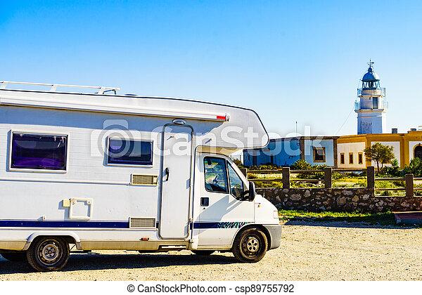 Caravan at Mesa Roldan lighthouse, Spain - csp89755792