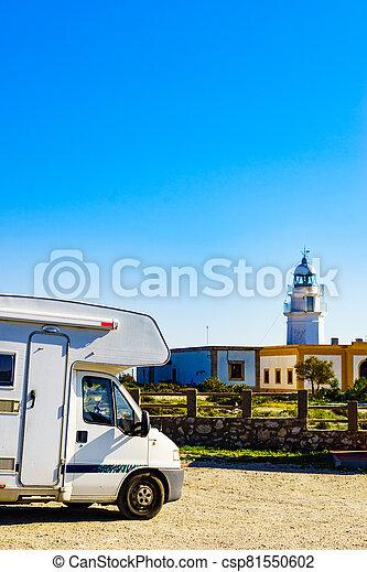 Caravan at Mesa Roldan lighthouse, Spain - csp81550602