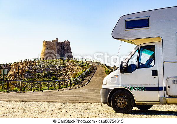 Caravan at Mesa Roldan tower, Spain - csp88754615
