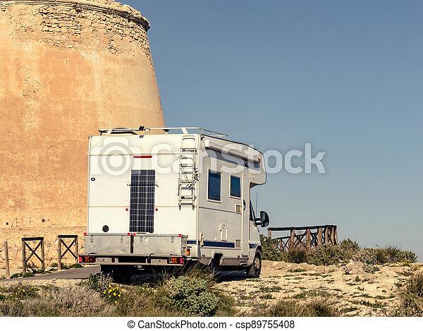 Caravan at Mesa Roldan tower, Spain - csp89755408
