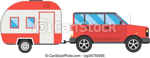Vector Caravan Travel Car Vehicle Trailer House Summer Vacation