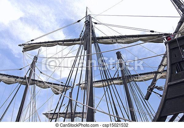 Caravel Ship Masts Sails and Ropes  - csp15021532