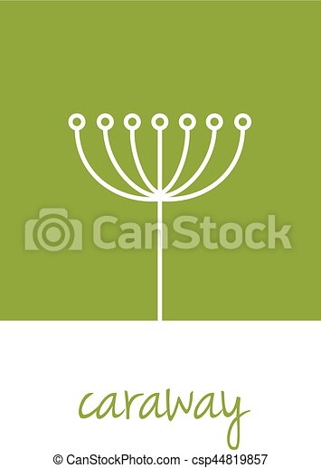 caraway icon on green square - csp44819857