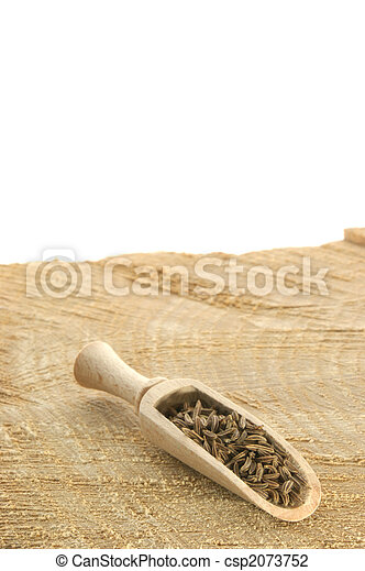 caraway seed in a wooden shovel on a timber board - csp2073752