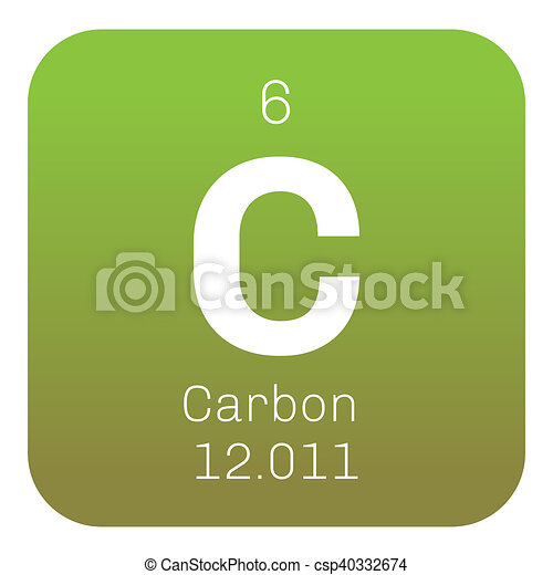 Carbon Chemical Element Graphite And Diamond Colored Icon Stock