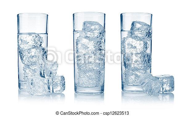 carbonated, set, acqua ghiaccio, fresco, fresco, occhiali - csp12623513