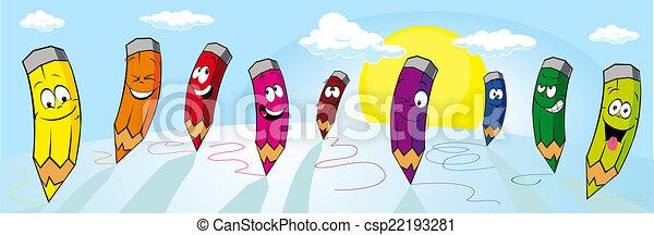 Los crayones coloridos dibujados en papel blanco, vista panorámica - csp22193281