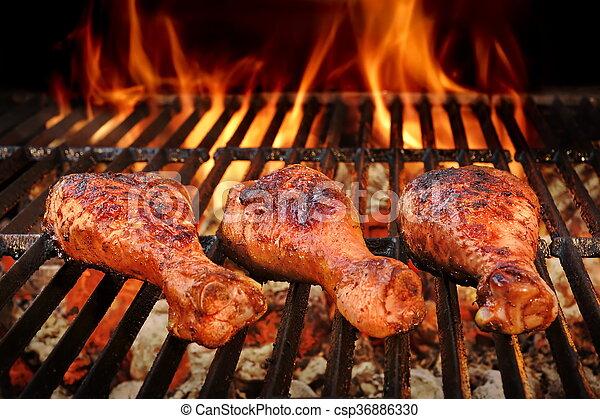 carbonella, griglia, caldo, pollo arrostito, gambe, bbq - csp36886330