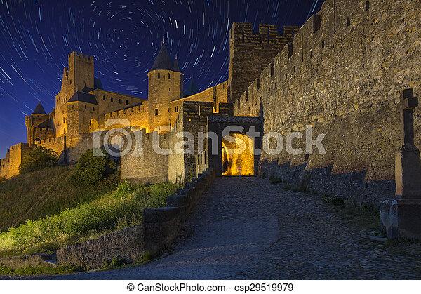 Carcassonne - Star Trails - France - csp29519979