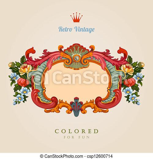 card., 型, 挨拶, レトロ, 花, frame. - csp12600714