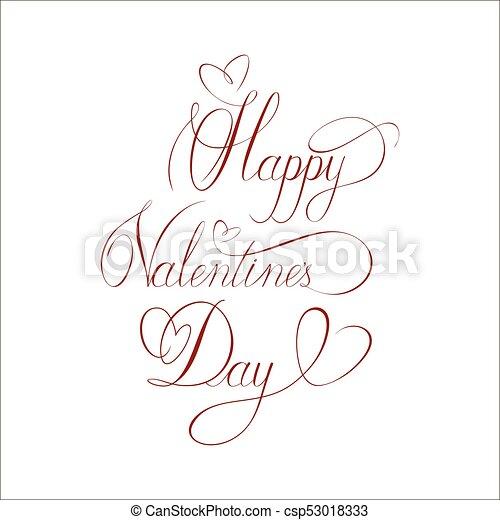 card., 挨拶, イラスト, calligraphic, ベクトル, valentine's, inscription., 日, 幸せ - csp53018333