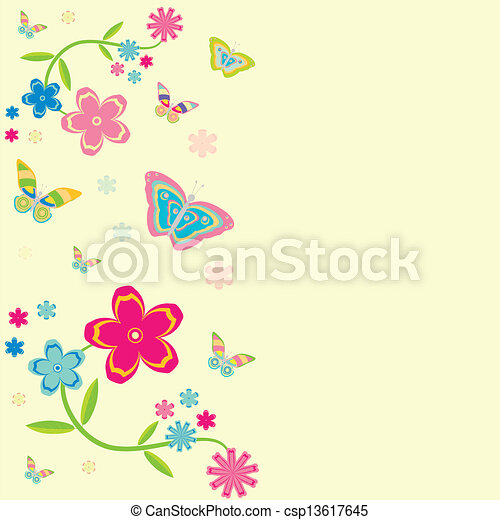 Card. background with flowers and butterflies - csp13617645