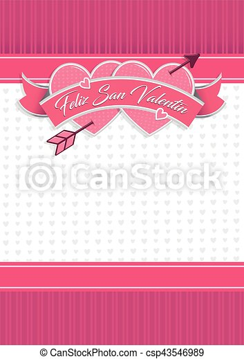 Card Cover With Message Feliz San Valentin Happy Valentines Day In