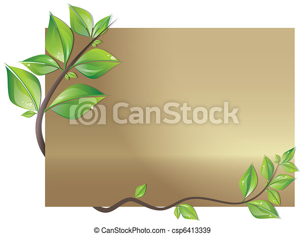 Card decorated with leaves - csp6413339