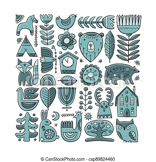 Card Design with Nordic Ornament. Forest Animals, Folk Background - csp89824460