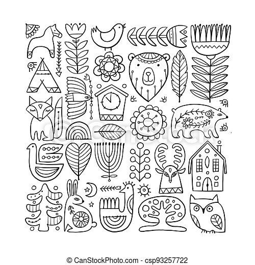 Card Design with Nordic Ornament. Forest Animals, Folk Background - csp93257722