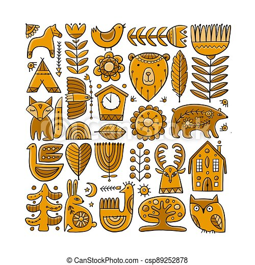 Card Design with Nordic Ornament. Forest Animals, Folk Background - csp89252878