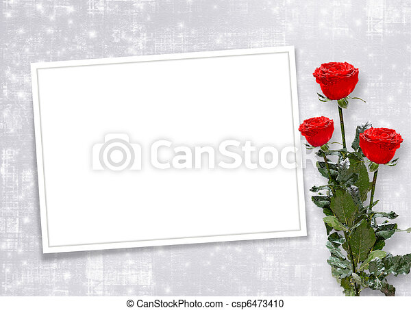 Card for congratulation or invitation with red roses - csp6473410