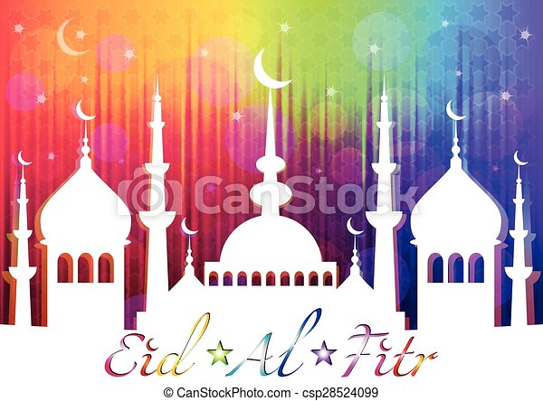 Card for greeting with Islam feast Eid al-Fitr and finish of Ramadan - csp28524099
