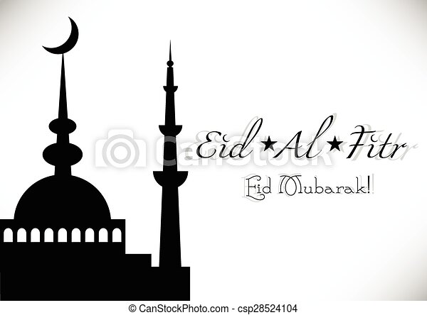 Card for greeting with Islamic feast Eid al-Fitr - csp28524104