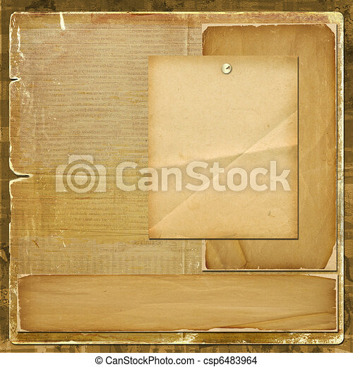Card for invitation or congratulation in scrapbooking style design - csp6483964